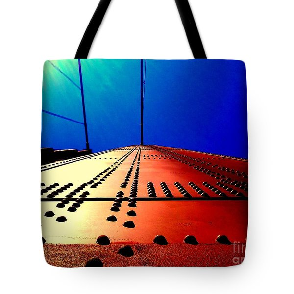 Golden Gate Bridge In California Rivets And Cables Tote Bag by Michael Hoard