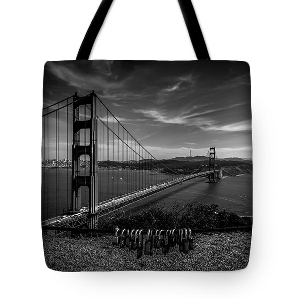 Golden Gate Bridge Locks Of Love Tote Bag