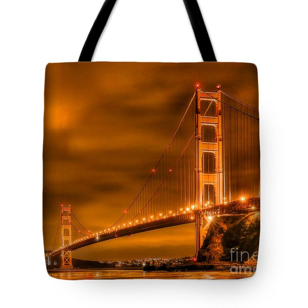 Golden Gate Bridge - Nightside Tote Bag by Jim Carrell