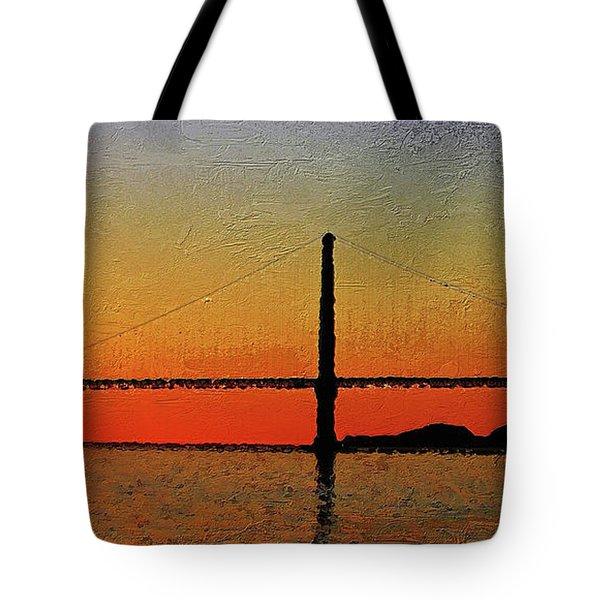 Tote Bag featuring the digital art Golden Gate Bridge Panoramic by PixBreak Art
