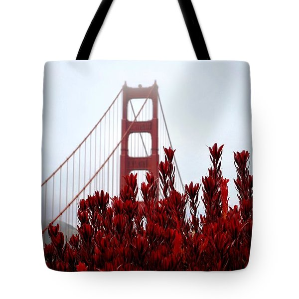 Golden Gate Bridge Red Flowers Tote Bag