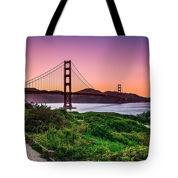 Golden Gate Bridge San Francisco California At Sunset Tote Bag