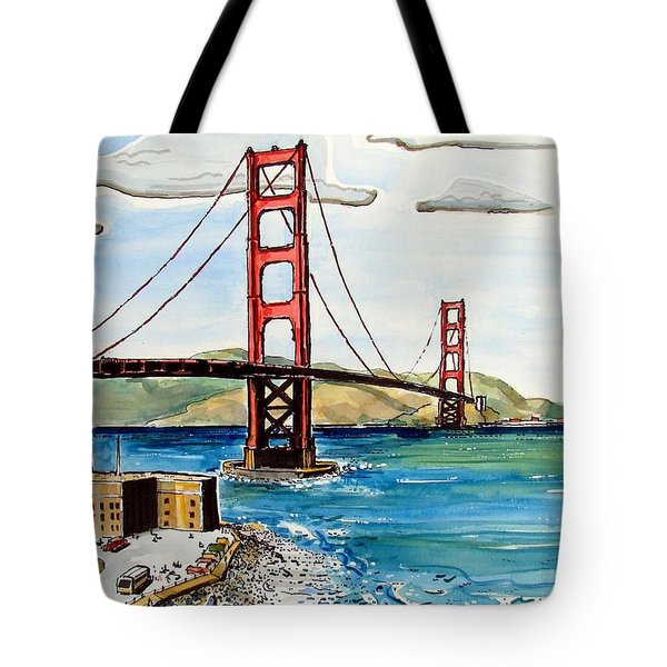 Tote Bag featuring the painting Golden Gate Bridge by Terry Banderas