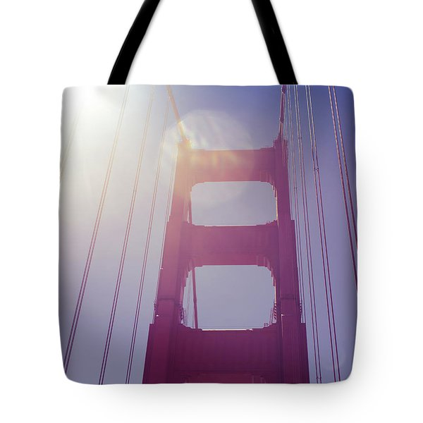 Tote Bag featuring the photograph Golden Gate Bridge The Iconic Landmark Of San Francisco by Jingjits Photography