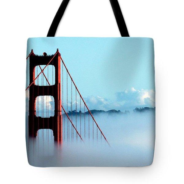 Golden Gate Bridge Tower Fog Antenna Tote Bag by Jeff Lowe