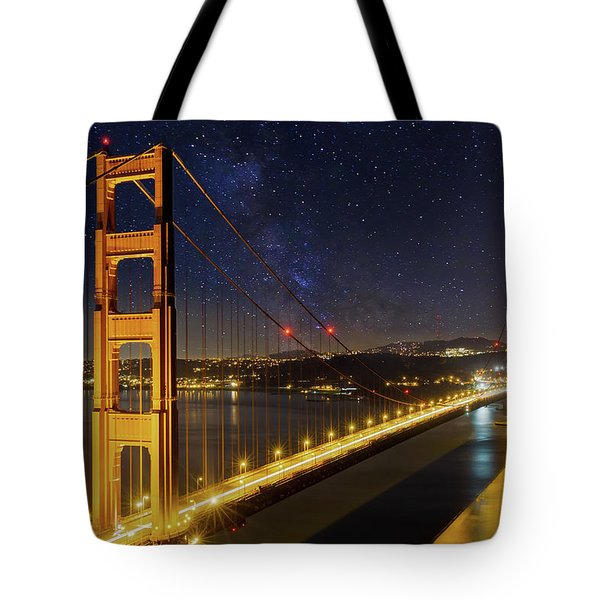 Golden Gate Bridge Under The Starry Night Sky Tote Bag by David Gn