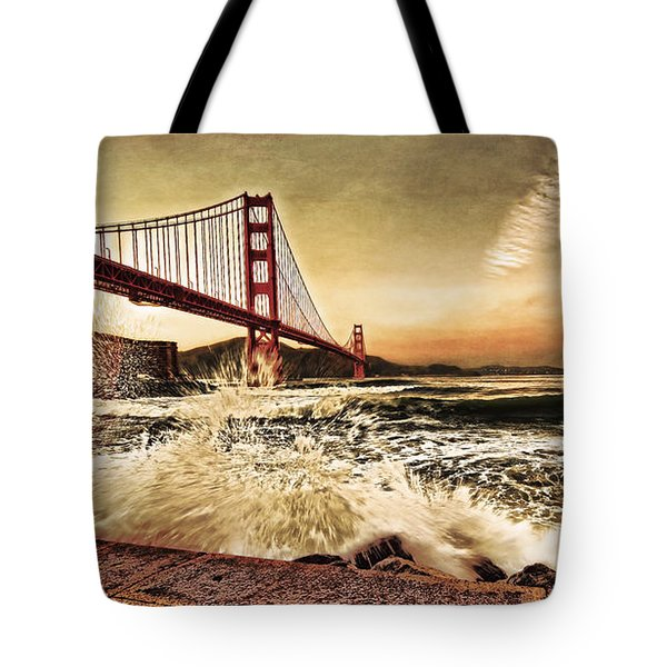 Tote Bag featuring the photograph Golden Gate Bridge Waves by Steve Siri