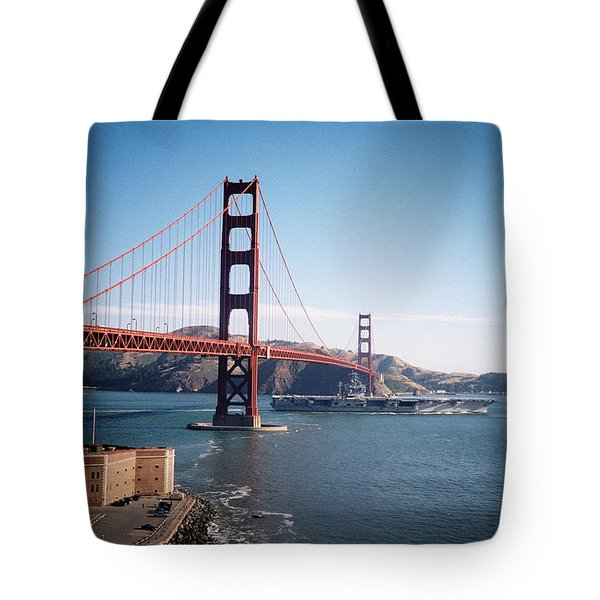 Golden Gate Bridge With Aircraft Carrier Tote Bag