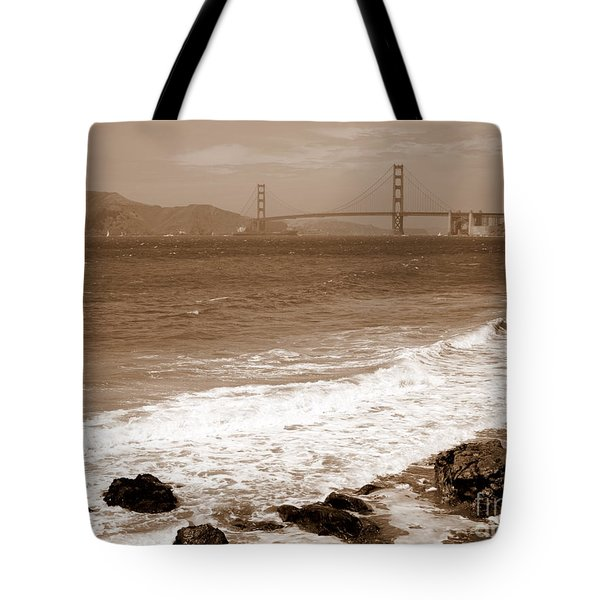 Golden Gate Bridge With Shore - Sepia Tote Bag by Carol Groenen