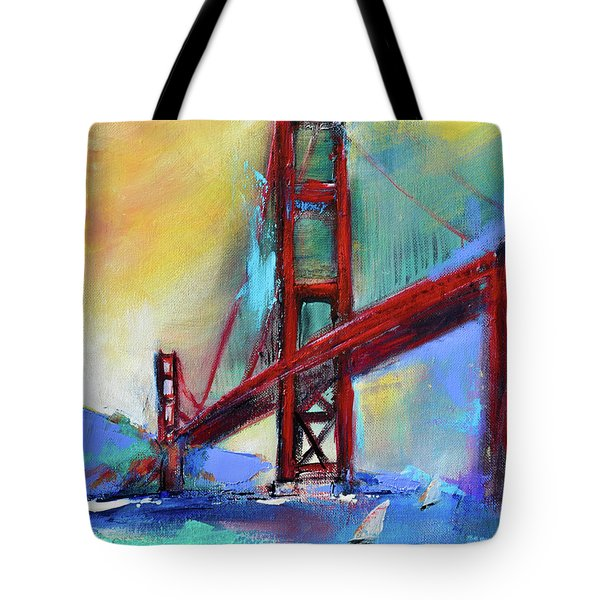 Tote Bag featuring the painting Golden Gate Colors by Elise Palmigiani