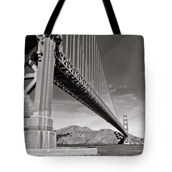 Golden Gate From The Water - Bw Tote Bag by Darcy Michaelchuk