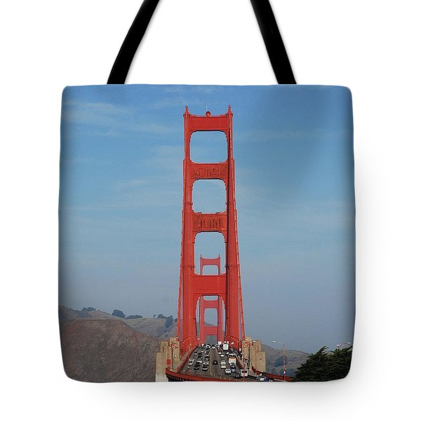 Golden Gate Head On Tote Bag