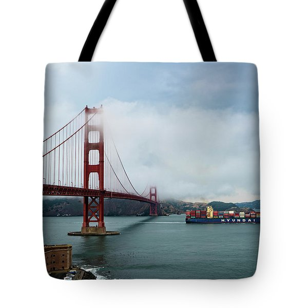 Golden Gate Ship Tote Bag