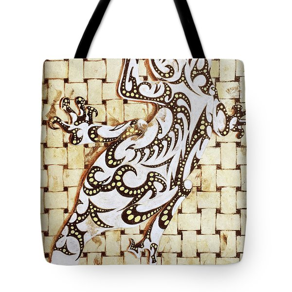 Tote Bag featuring the painting Golden Gecko by J- J- Espinoza