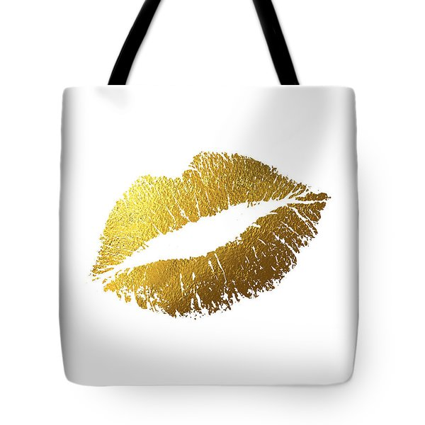 Gold Lips Tote Bag by BONB Creative