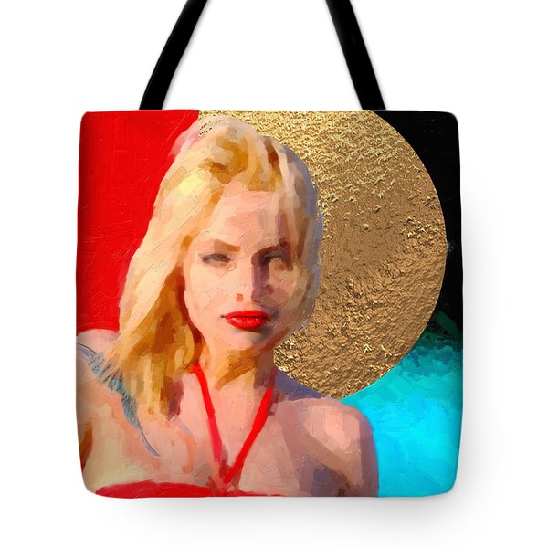 Tote Bag featuring the digital art Golden Girl No. 2 by Serge Averbukh