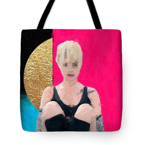 Tote Bag featuring the digital art Golden Girl No. 3 by Serge Averbukh