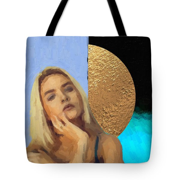 Tote Bag featuring the digital art Golden Girl No. 4  by Serge Averbukh