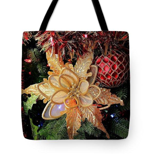 Golden Glitter Christmas Ornaments Tote Bag