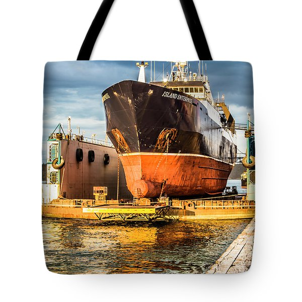 Golden Glow On Dry Dock Tote Bag