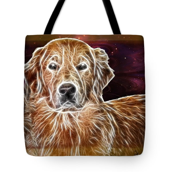 Tote Bag featuring the photograph Golden Glowing Retriever by EricaMaxine  Price