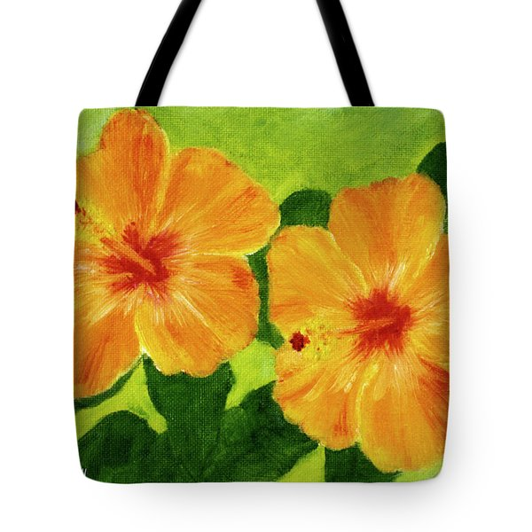 Golden Hawaii Hibiscus Flower #25 Tote Bag by Donald k Hall