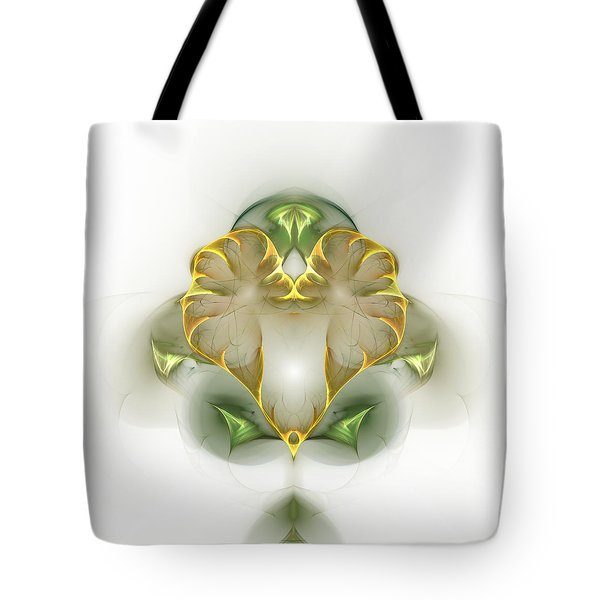 Tote Bag featuring the digital art Golden Heart by Richard Ortolano
