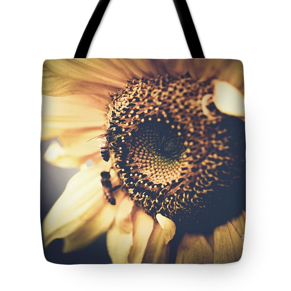 Tote Bag featuring the photograph Golden Honey Bees And Sunflower by Sharon Mau