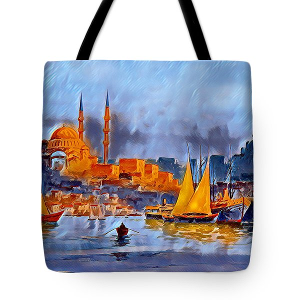 Tote Bag featuring the digital art Golden Horn Of Istanbul by Pennie McCracken