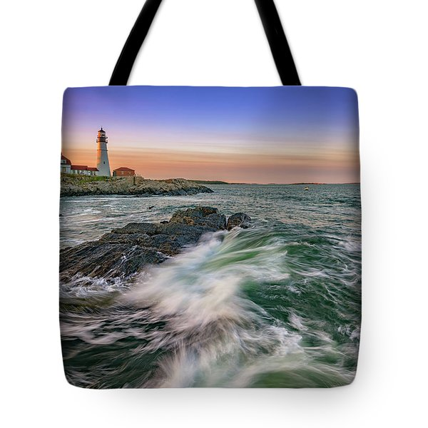 Golden Hour At Portland Head Light Tote Bag