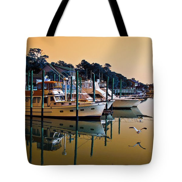 Golden Hour At The Marshwalk Tote Bag