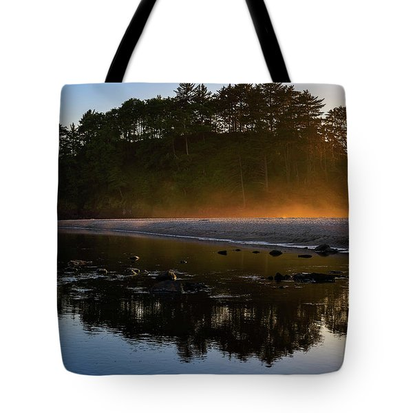 Tote Bag featuring the photograph Golden Hour Haze At Proposal Rock by John Hight