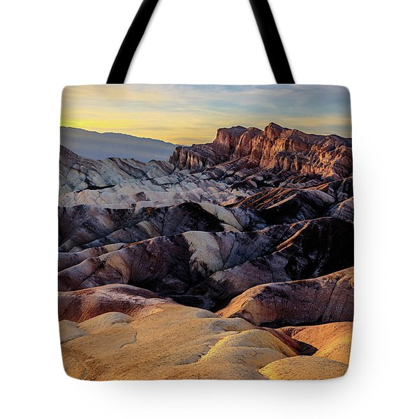 Tote Bag featuring the photograph Golden Hour Light On Zabriskie Point by John Hight