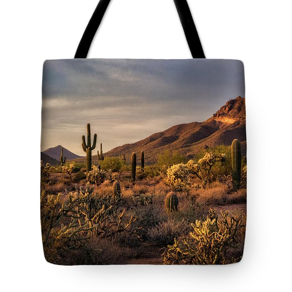 Tote Bag featuring the photograph Golden Hour On The Usery  by Saija Lehtonen