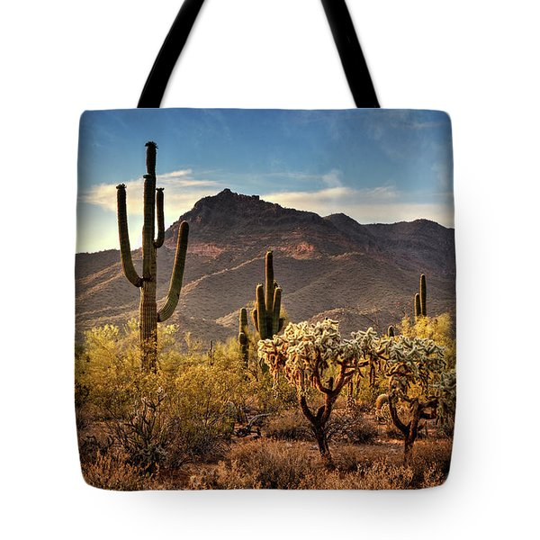 Tote Bag featuring the photograph Golden Hour On Usery Mountain  by Saija Lehtonen