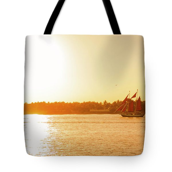 Golden Hour Sailing Ship Tote Bag