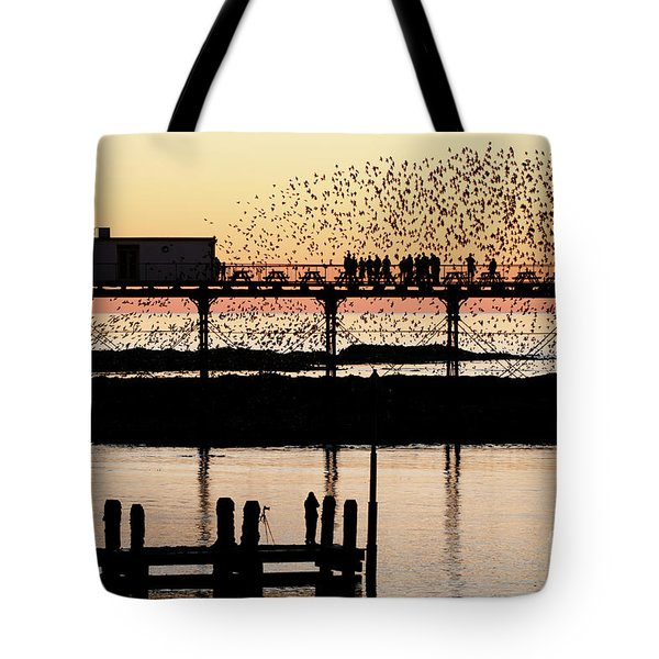 Golden Hour Starlings In Aberystwyth Tote Bag