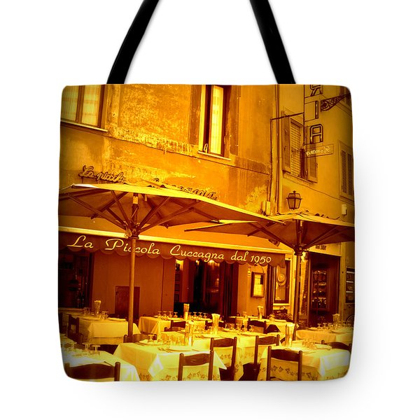 Golden Italian Cafe Tote Bag by Carol Groenen