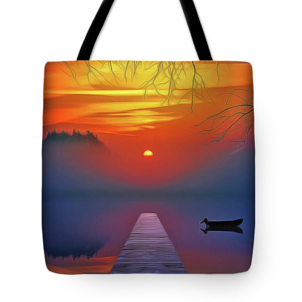 Tote Bag featuring the painting Golden Lake by Harry Warrick