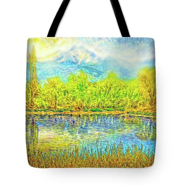 Golden Lake Reflections Tote Bag by Joel Bruce Wallach