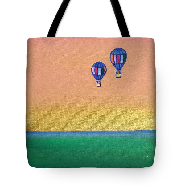 Golden Landscape And Balloons Tote Bag by Beryllium Canvas