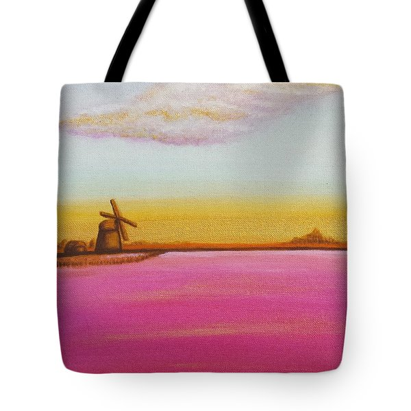 Golden Landscape With Windmill Tote Bag by Beryllium Canvas