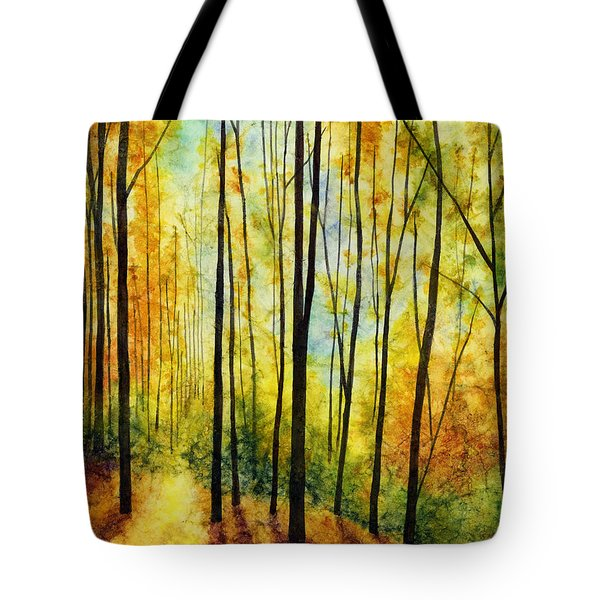 Tote Bag featuring the painting Golden Light by Hailey E Herrera