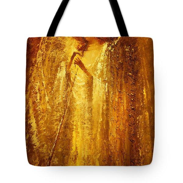 Golden Light Of Angel Tote Bag