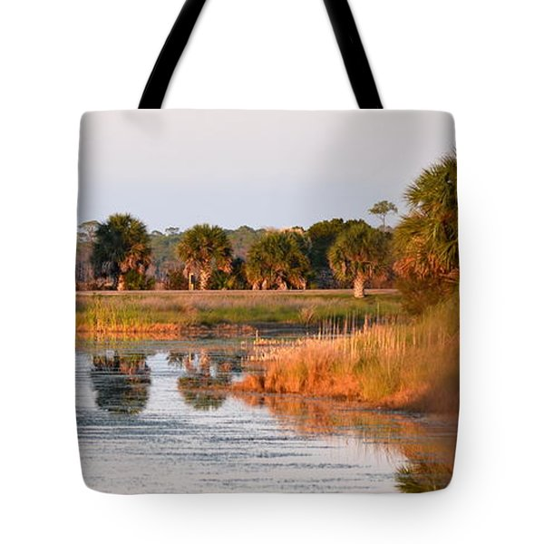 Golden Light On The St. Marks Marshes Tote Bag