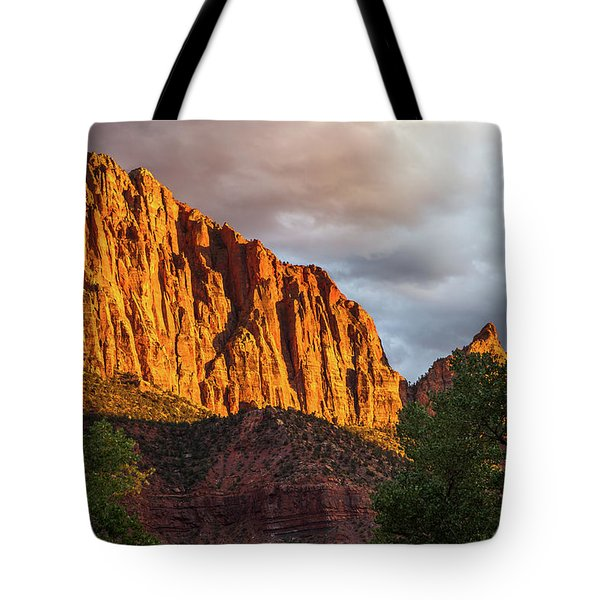 Golden Light On Watchman - Zion Tote Bag