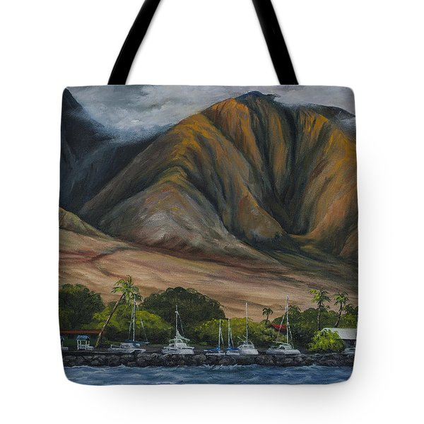 Tote Bag featuring the painting Golden Light West Maui  by Darice Machel McGuire