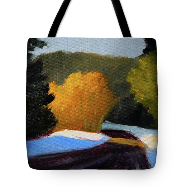 Tote Bag featuring the painting Golden Light Winter Road by Nancy Merkle