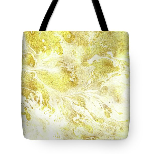 Golden Marble I Gold And White Abstract Art Tote Bag