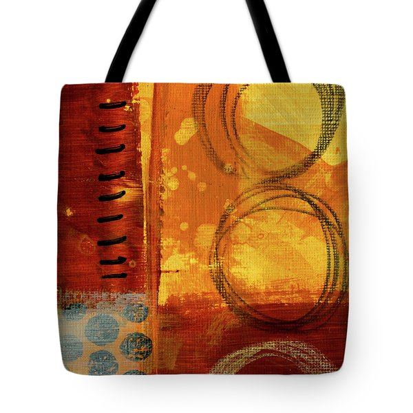 Tote Bag featuring the painting Golden Marks 10 by Nancy Merkle